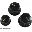 Knobs - Original Fender® J-Bass Black (Set of 3)